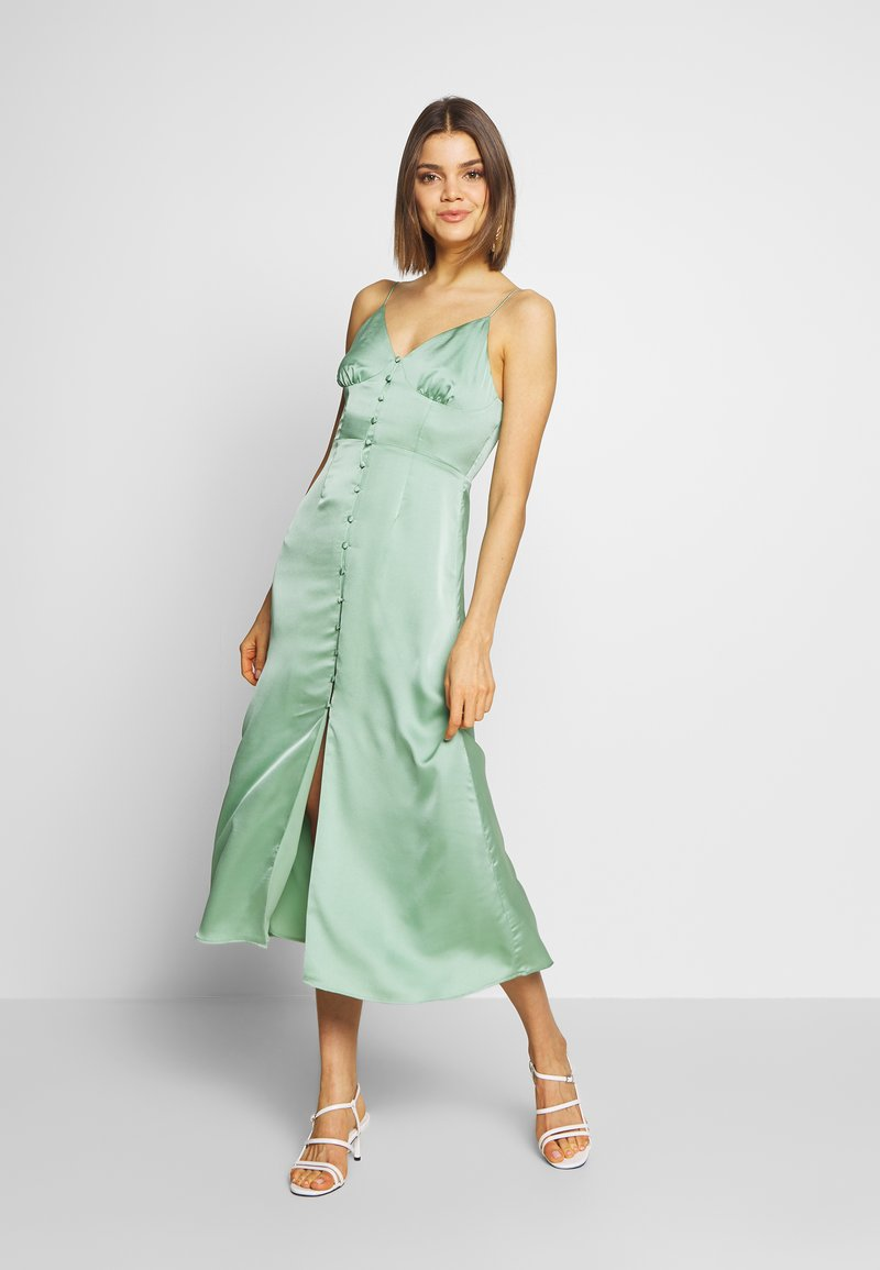 Glamorous - SATIN BUTTON FRONT MIDI DRESS - Sukienka letnia - sage green