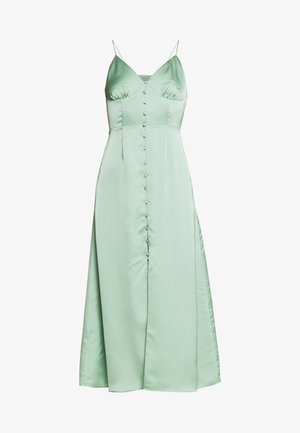 SATIN BUTTON FRONT MIDI DRESS - Vestido informal - sage green