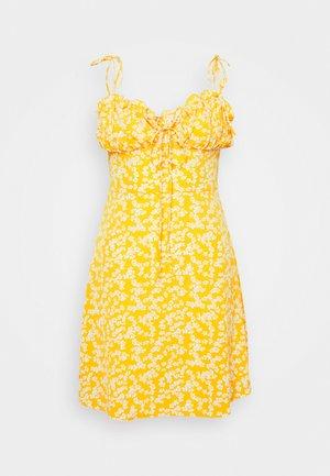 CARE PRINTED MINI DRESS WITH SHOULDER TIE DETAIL - Korte jurk - yellow