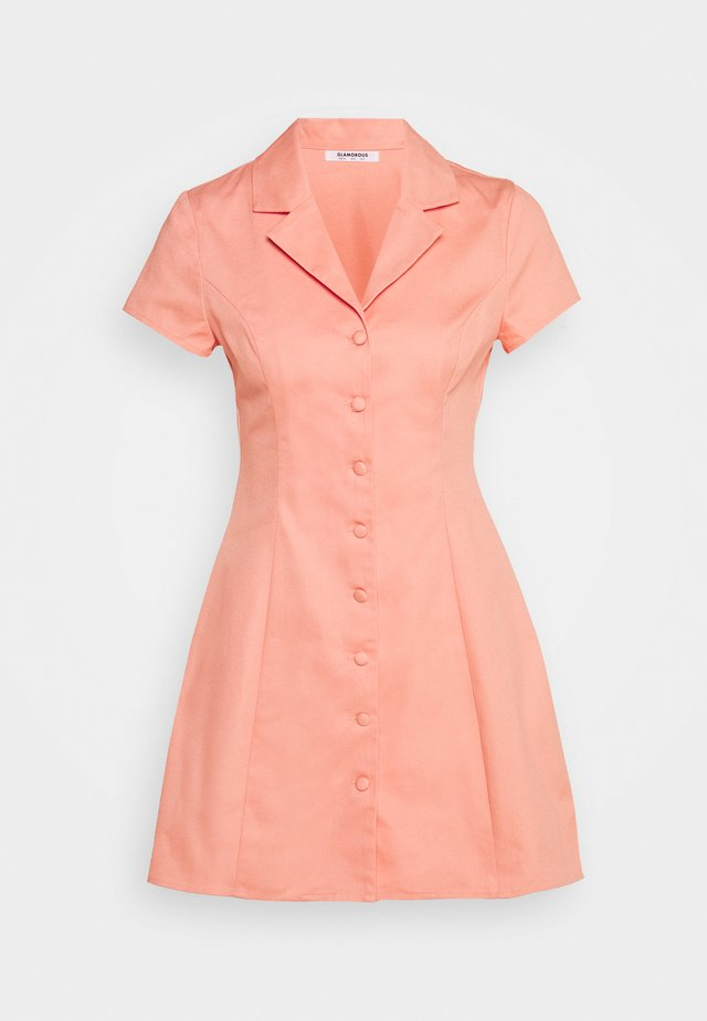 A LINE MINI DRESS WITH LAPEL COLLAR - Blousejurk - coral