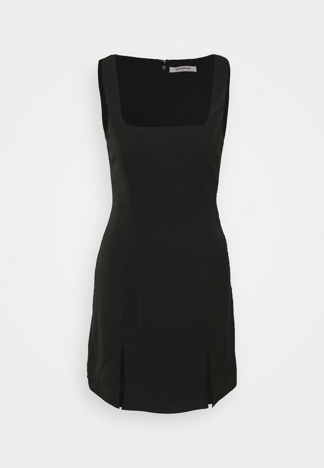 MINI DRESS WITH WIDE STRAPS AND SQUARE NECKLINE - Etui-jurk - black