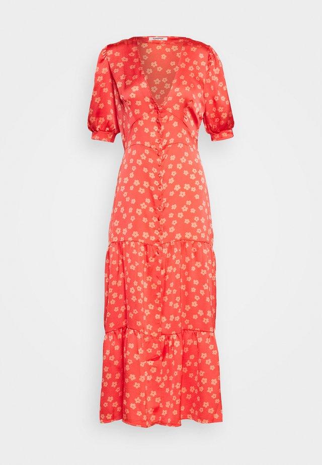 SHORT SLEEVE V NECK MIDI DRESS - Vestito estivo - coral/pink