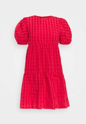 TIERED MINI DRESS - Day dress - red tonal check