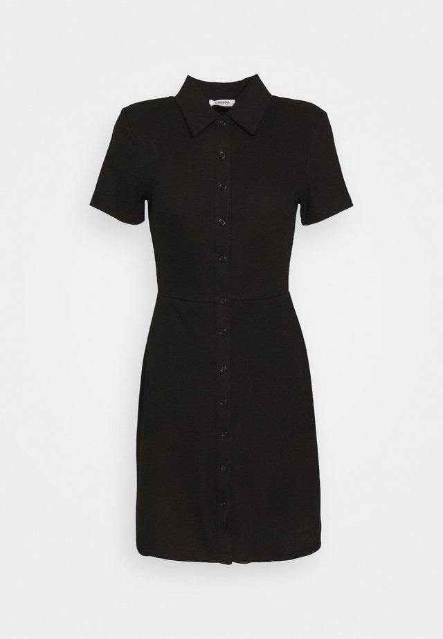 COLLARED DRESS WITH BUTTON DETAIL - Sukienka letnia - black