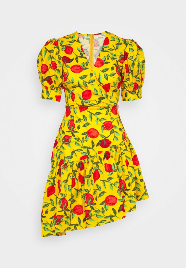 MINI WRAP DRESS - Korte jurk - yellow/red