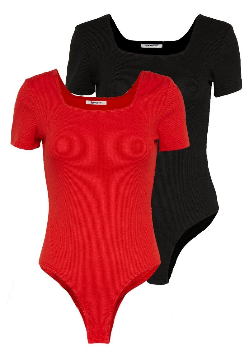 Glamorous - 2 PACK SQUARE NECK BODY  - T-Shirt basic - black / red