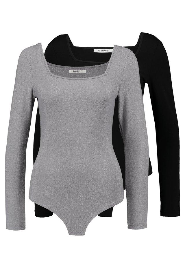 BODYSUIT 2 PACK - Bluzka z długim rękawem - silver/black