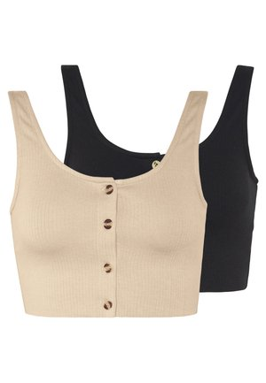 2 PACK BUTTON DOWN CROP - Top - beige/black