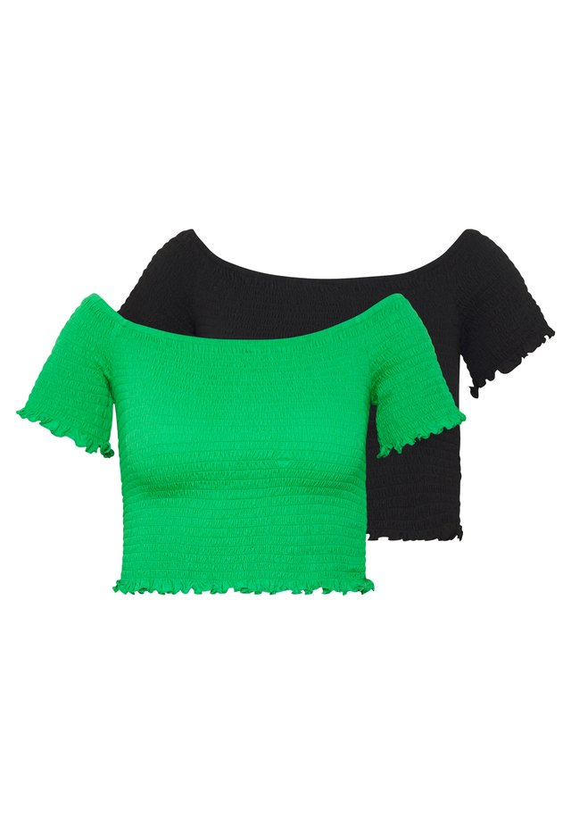 BARDOT 2 PACK - T-shirt print - black/green
