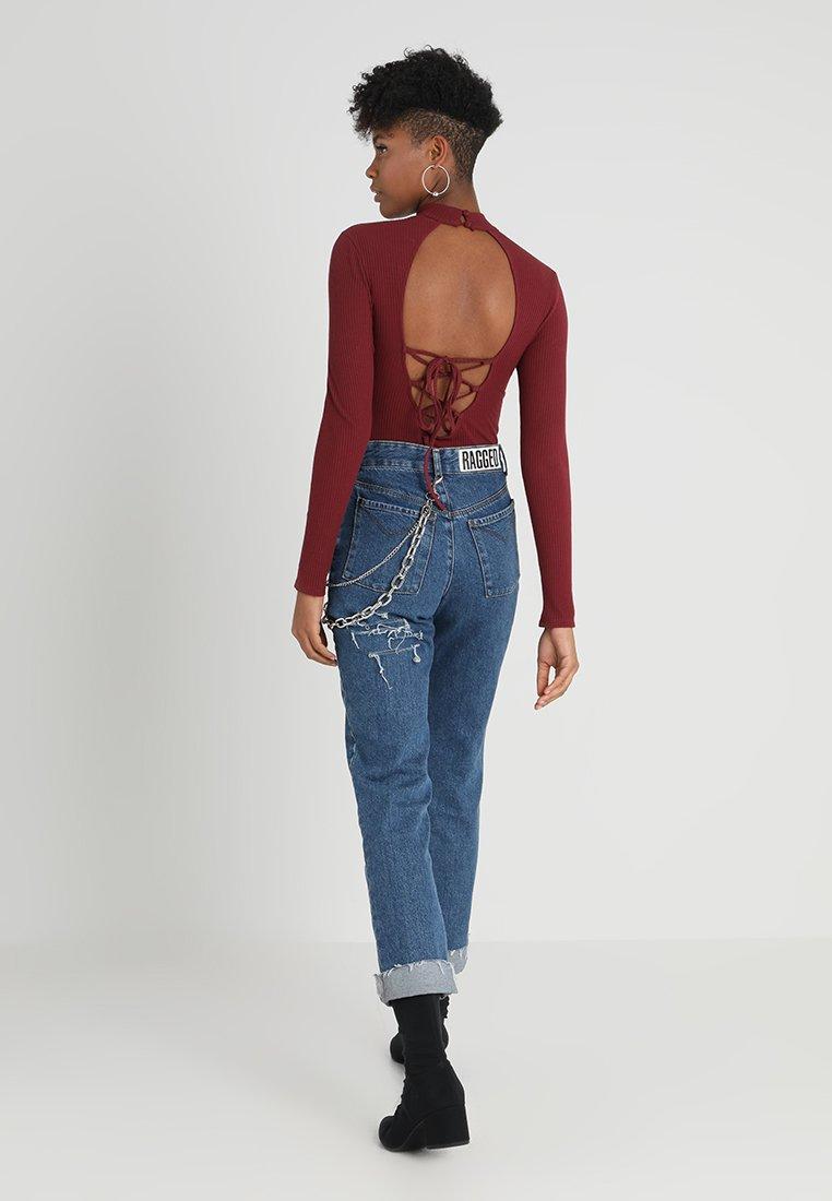 Glamorous - HIGH NECK LONGSLEEVE WITH OPEN BACK - Long sleeved top - burgundy