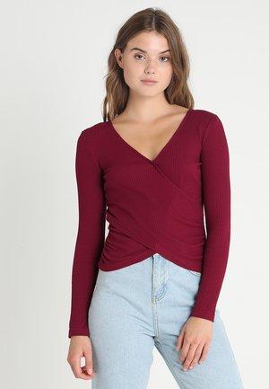 LONGSLEEVE WRAP - Long sleeved top - burgundy