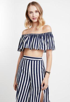 Bluse - navy/white