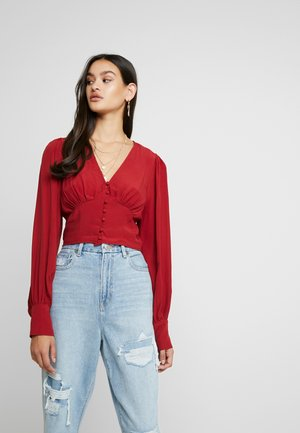 BUTTON FRONT - Pusero - burgundy