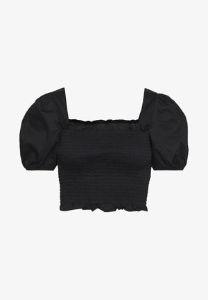 PUFF SLEEVE RUCHED CROP - Bluser - black
