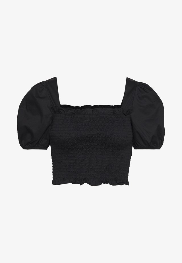 PUFF SLEEVE RUCHED CROP - Bluzka - black