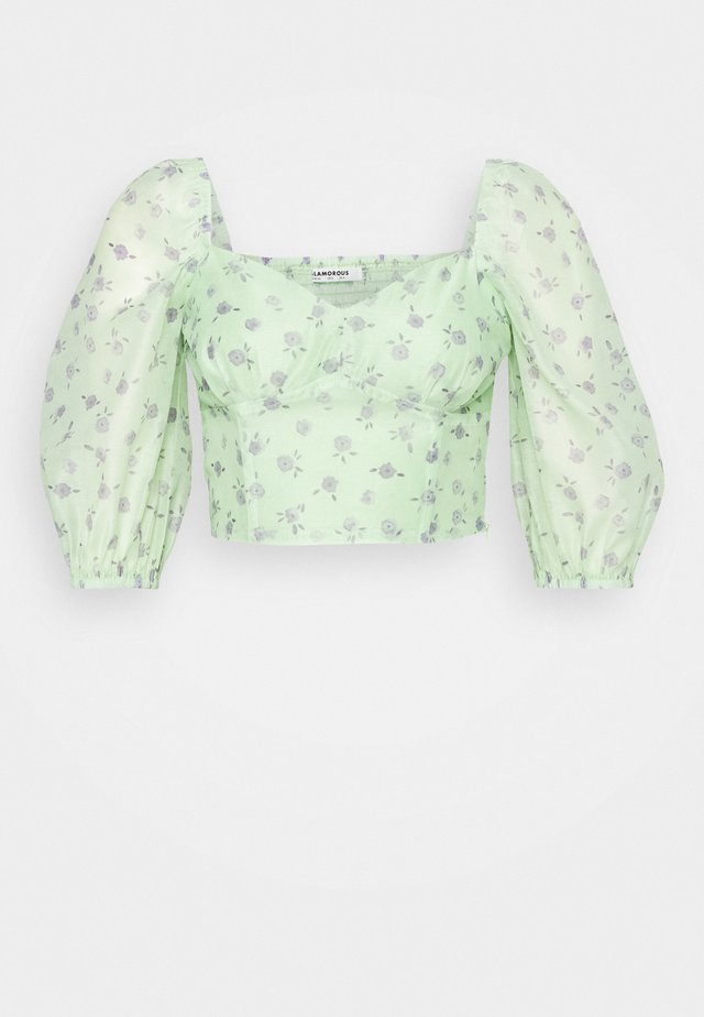 CROPPED BUST DETAIL TOP - Bluse - green