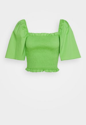 SMOCKED WITH FLARE SLEEVE - Blus - lettuce green