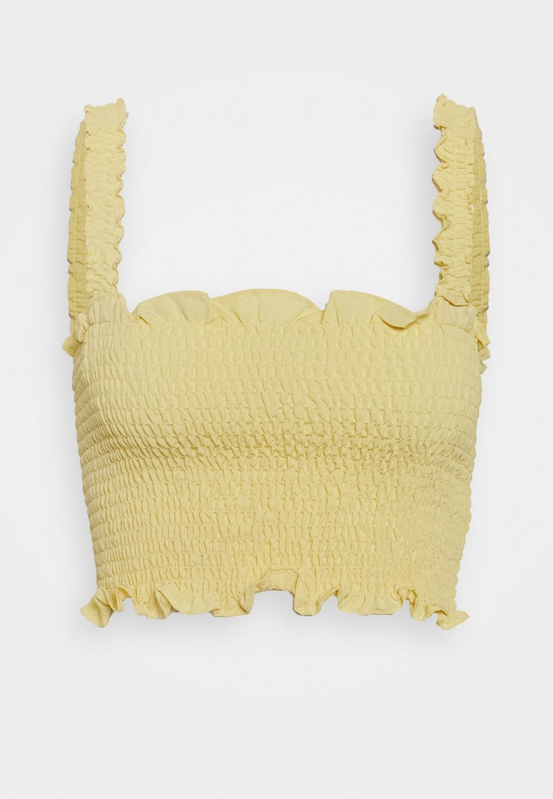 Glamorous - CARE SLEEVELESS SMOCKED CROP TOP WITH RUFFLE TRIM - Bluser - pale yellow
