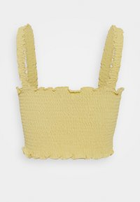 Glamorous - CARE SLEEVELESS SMOCKED CROP TOP WITH RUFFLE TRIM - Bluser - pale yellow - 1