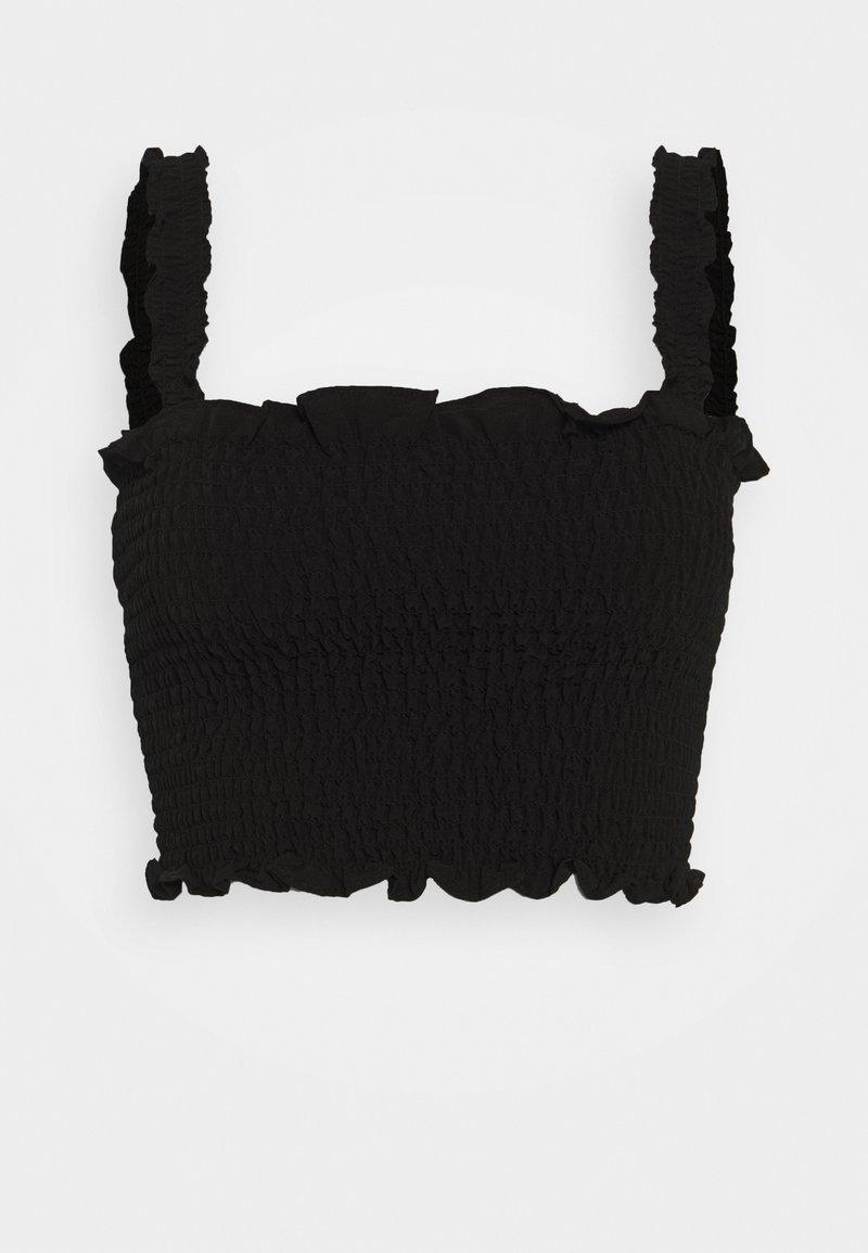 Glamorous - CARE SLEEVELESS SMOCKED CROP TOP WITH RUFFLE TRIM - Bluser - black