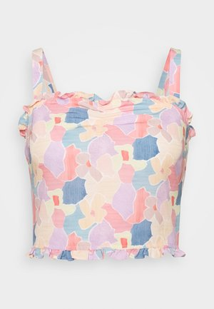 CARE FLORAL PRINTED RUFFLE TRIM CROP TOP - Bluzka - light pink