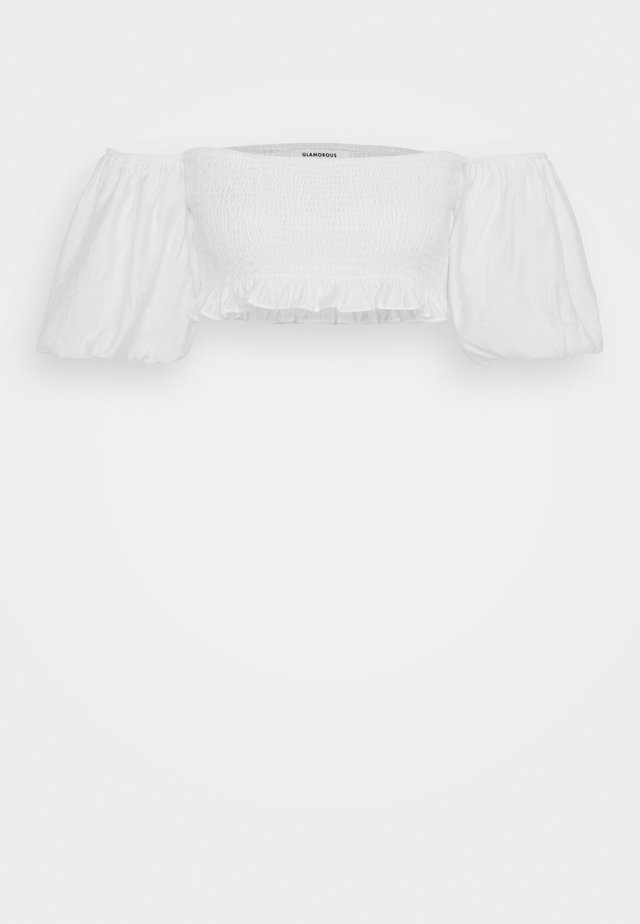 BARDOT SMOCKED CROP TOP WITH PUFF SLEEVE - Bluzka - white