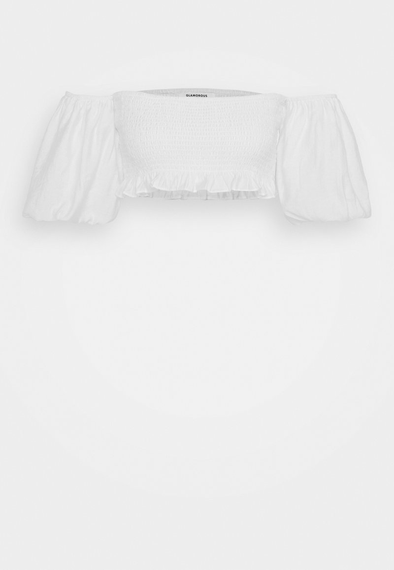 Glamorous - BARDOT SMOCKED CROP TOP WITH PUFF SLEEVE - Bluser - white