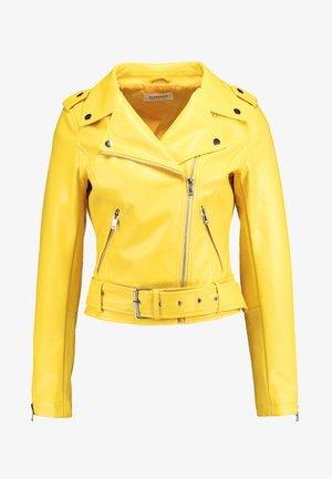 Imitert skinnjakke - yellow