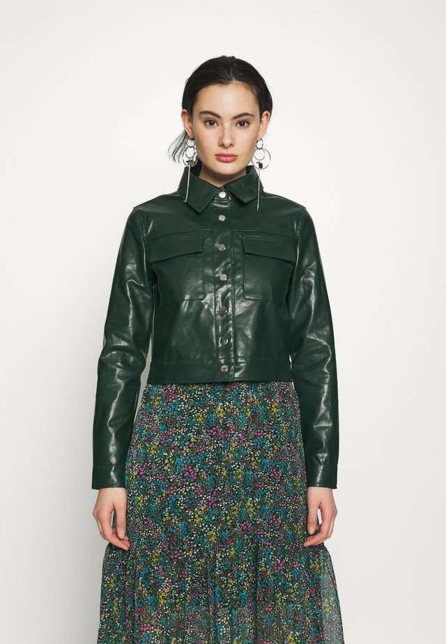 BUTTON FRONT JACKET - Keinonahkatakki - dark green