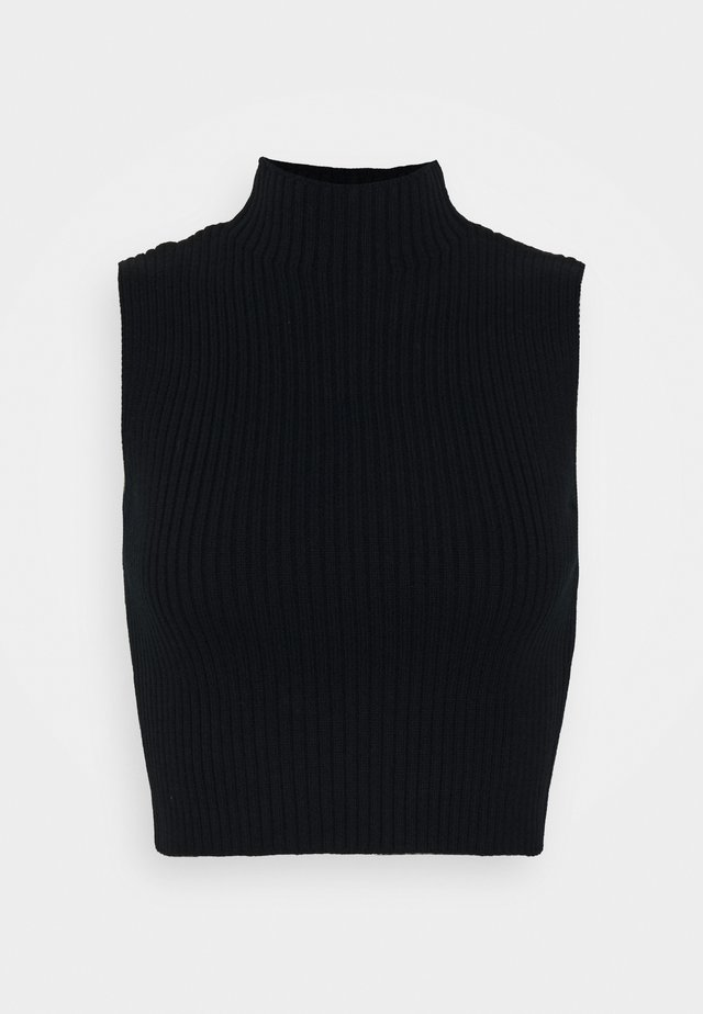 GLAMOROUS CARE KNITTED CROP TOP - Top - black