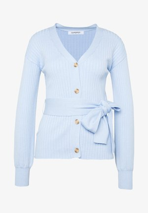 SLOUCHY CARDIGAN WITH BELT - Vest - light blue