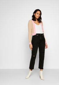 Glamorous - FLUFFY CROPPED JUMPER - Mikina na zip - light pink multi - 1