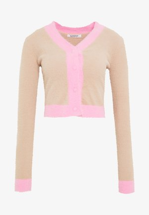 FLUFFY CROPPED JUMPER - Bluza rozpinana - light pink multi