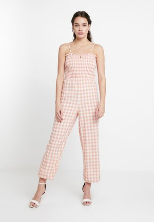 Overall / Jumpsuit - peach/white