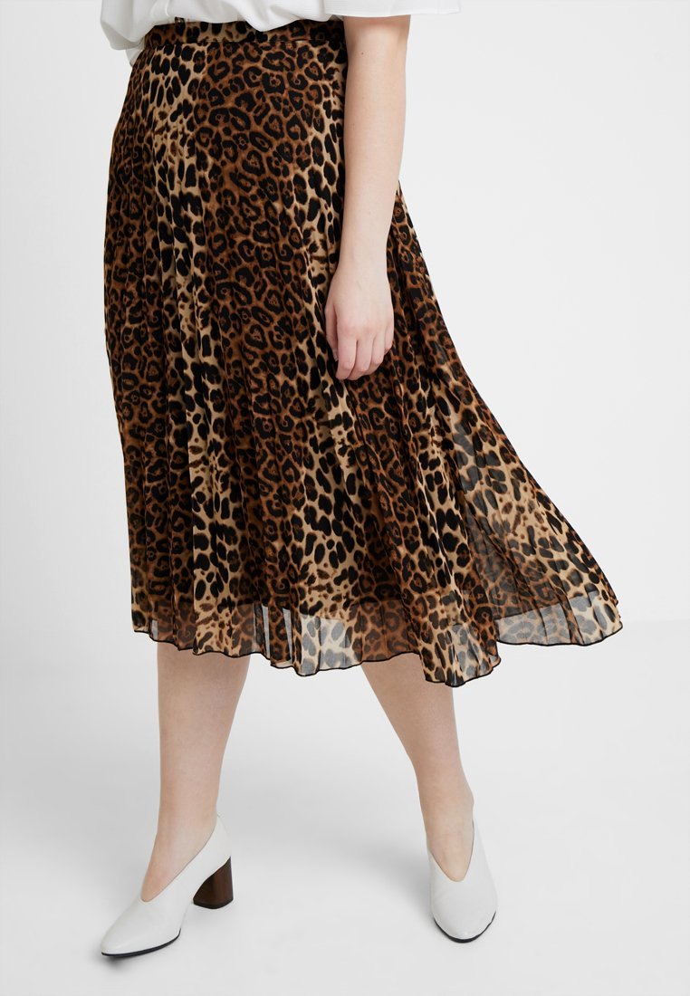 Glamorous Curve - MIDI PLEATED SKIRT - A-Linien-Rock - brown