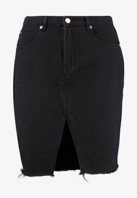 Glamorous Curve - KNEE LENGTH SKIRT WITH FRONT SLIT - Jeansskjørt - black - 4