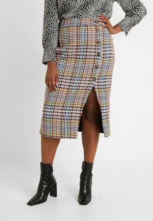CHECKED WITH BUTTONS MIDI SKIRT - Spódnica ołówkowa  - mono yellow multi