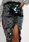 Glamorous Curve - IRIDESCENT SEQUIN SPLIT SIDE SKIRT - Jupe crayon - teal/purple