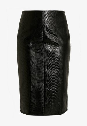 SNAKE EMBOSSED SKIRT - Pouzdrová sukně - black