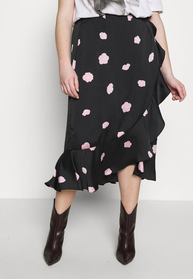 FLORAL WRAP SKIRT - A-snit nederdel/ A-formede nederdele - black