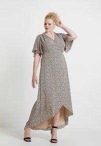 Glamorous Curve - WRAP V NECK DRESS - Maxikjole - peach/navy - 0