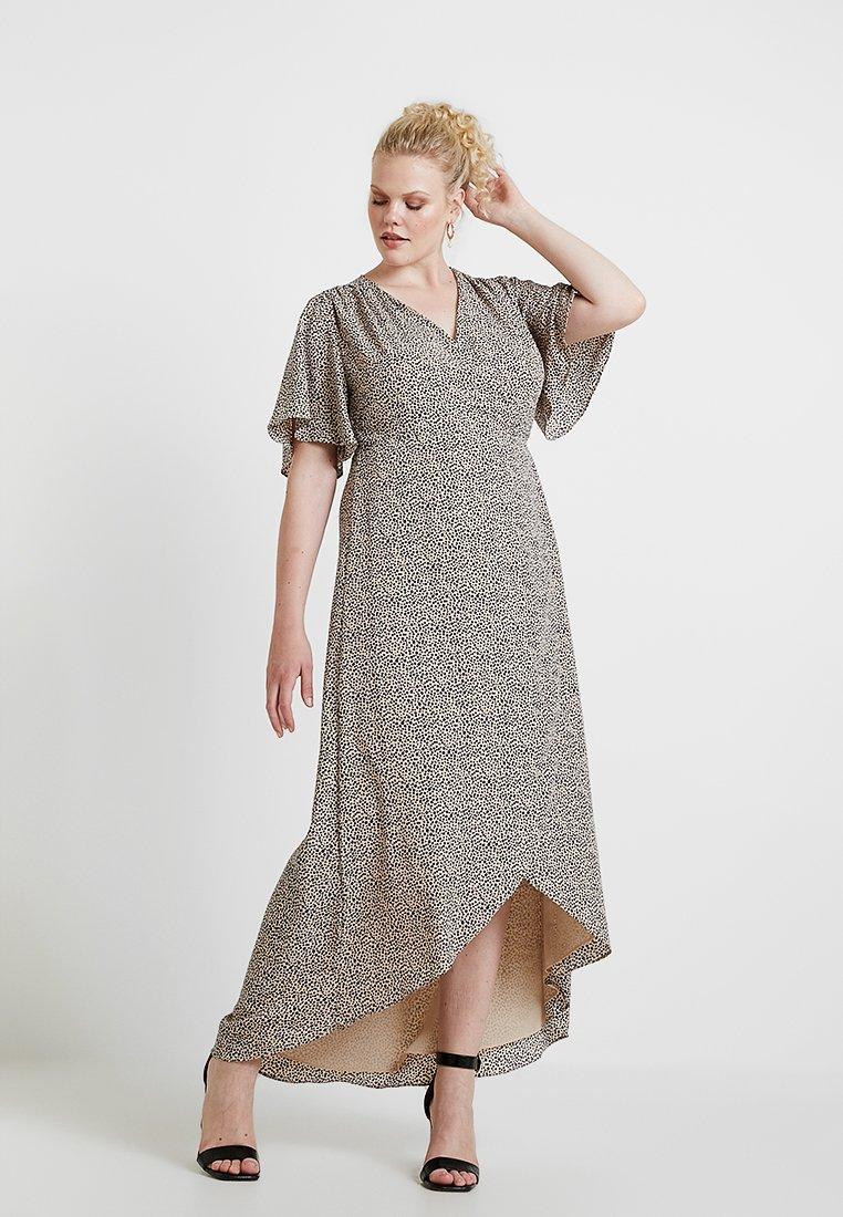 Glamorous Curve - WRAP V NECK DRESS - Maxikjole - peach/navy