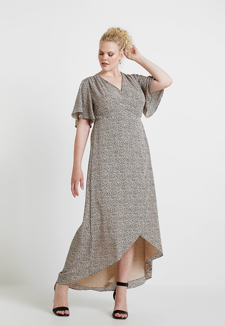 Glamorous Curve - WRAP V NECK DRESS - Maxikleid - peach/navy