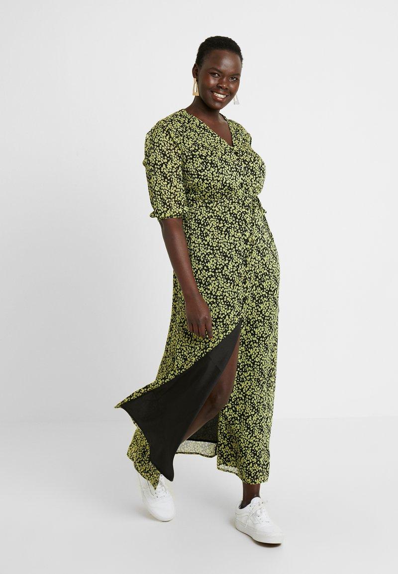 Glamorous Curve - DITSY FLORAL LONG SLEEVE WRAP DRESS - Maxi dress - yellow