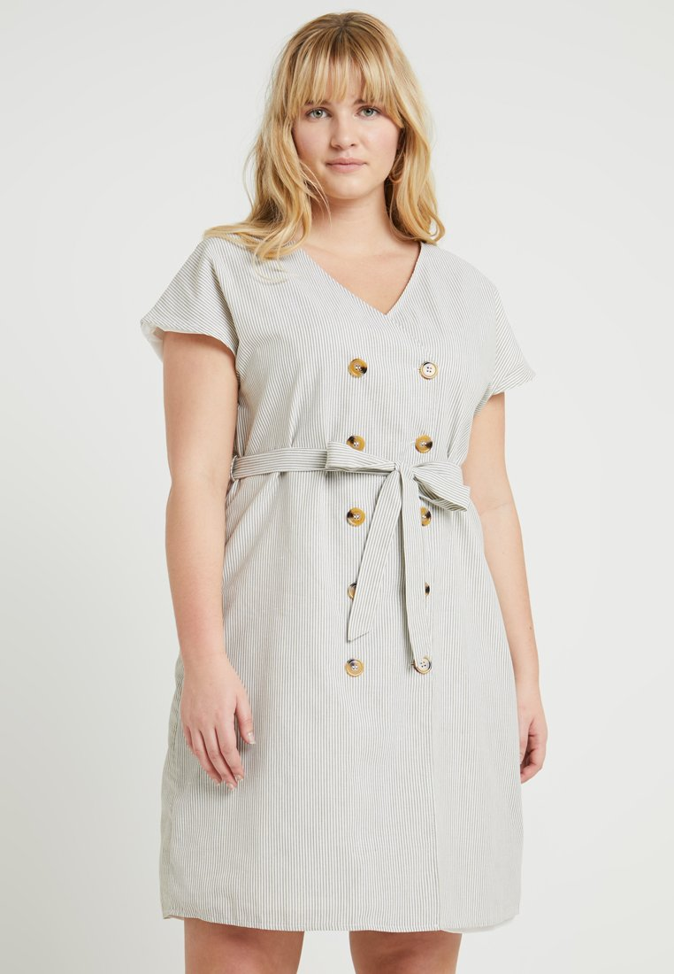 Glamorous Curve - EXCLUSIVE BUTTONED WRAP DRESS WITH SHORT SLEEVES - Vestido informal - khaki/white