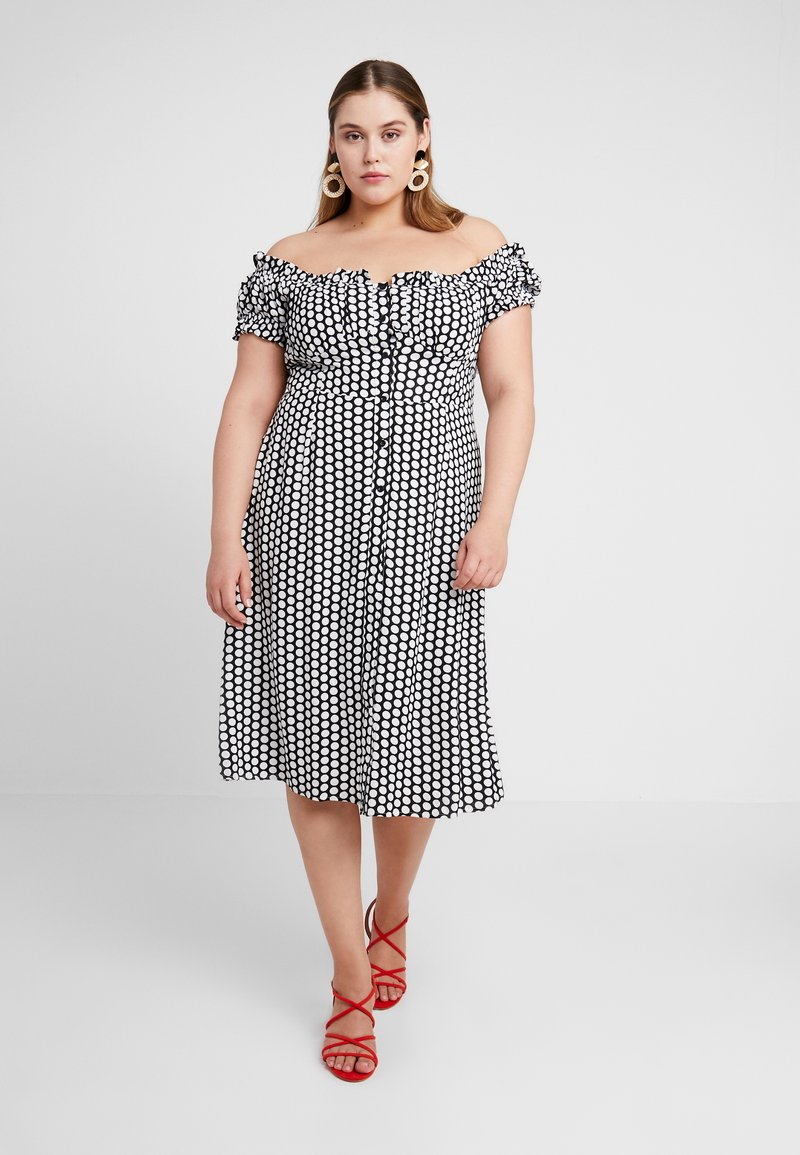 Glamorous Curve - MIDI BARDOT DRESS WITH RUSHING AND BUTTONS - Vestito estivo - black/white