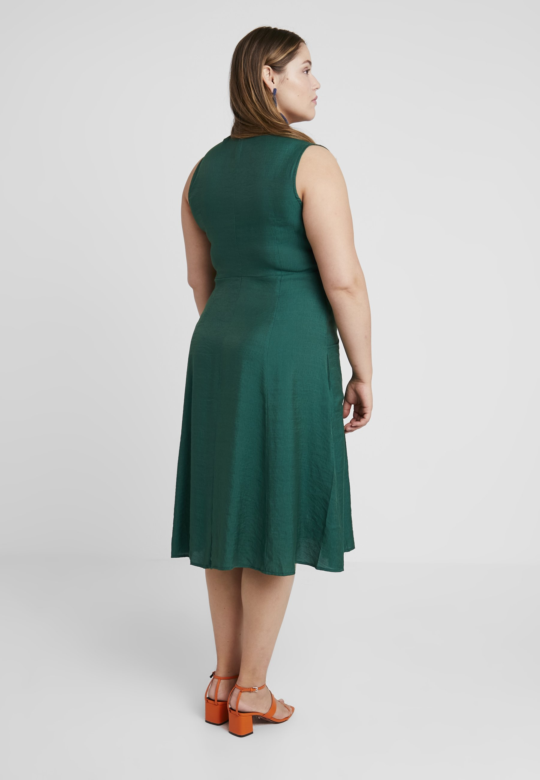 Sleeveless Vneck With Chemise Curve PocketsRobe Button Glamorous Dress Forest Green sQdhrCt