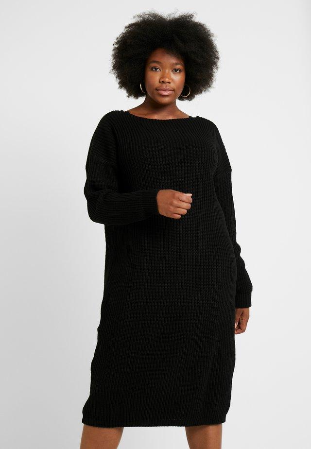 OPEN BACK INSERT DRESS - Pletené šaty - black