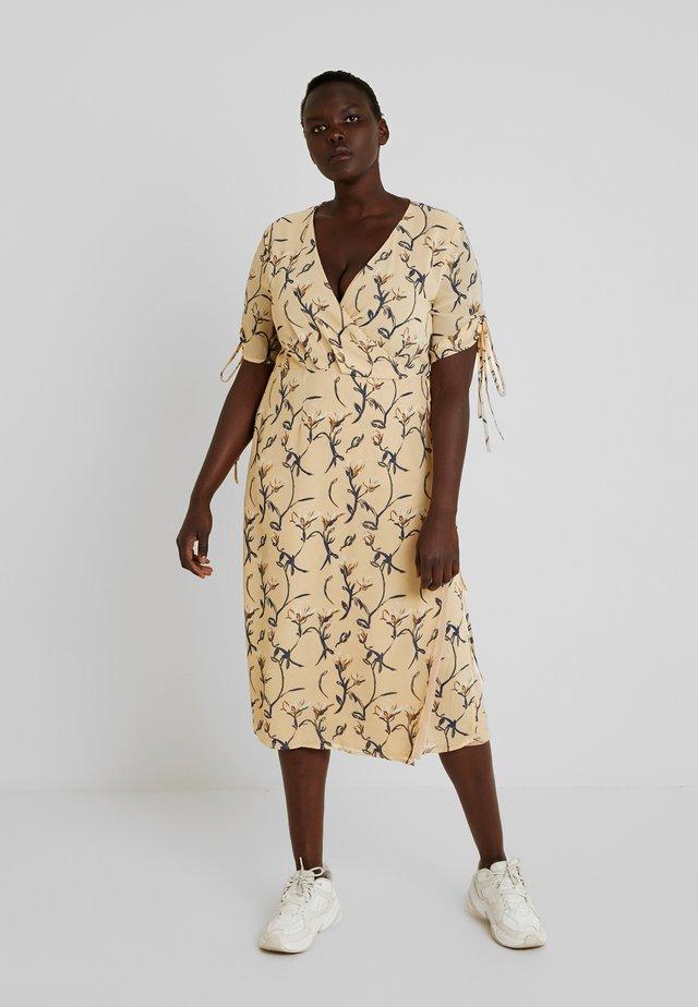 NECK MIDI DRESS - Maxi dress - ochre grey floral