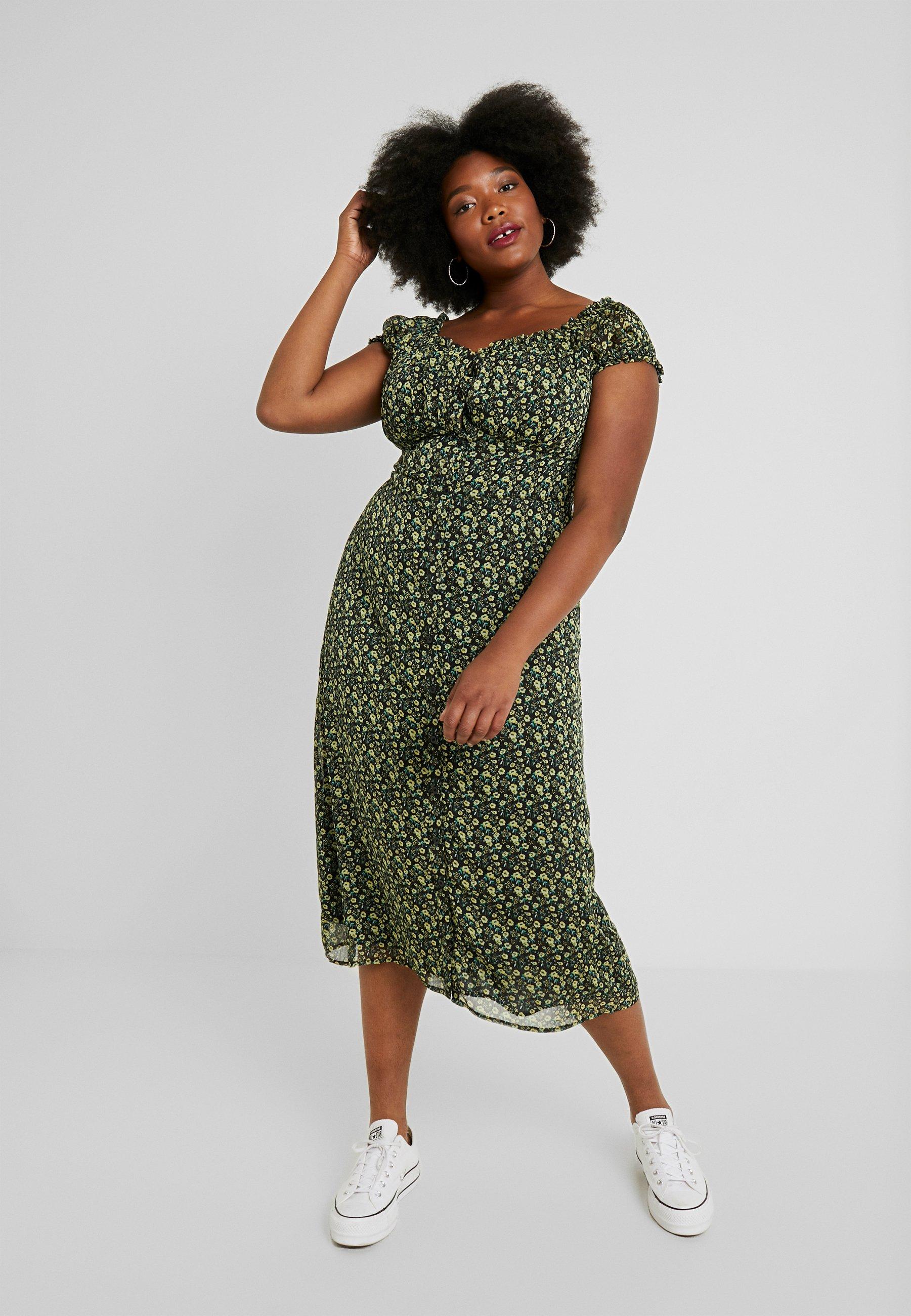 Glamorous Curve - WITH TIES VNECK DRESS - Skjortekjole - black/yellow